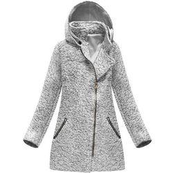 c531aa84e99e8 Płaszcz z asymetrycznym zamkiem szary melanż (174art) - szary marki Italy  moda