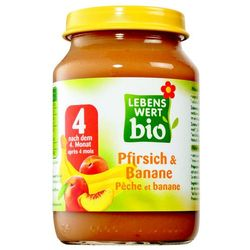 Deser Dla Niemowląt Brzoskwinia i Banan Bio 190g-Lebenswert