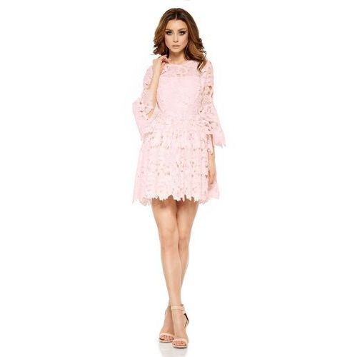 a910f05c1a Różowa Wieczorowa Sukienka Koronkowa z Rozkloszowanym Rękawem