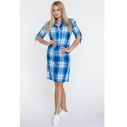204a6cfcd1f988 Niebieska sukienka koszulowa w kratkę - Topsi