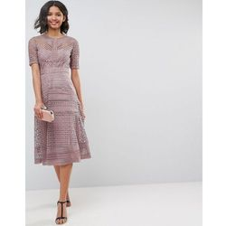 d26658992b premium occasion lace midi dress - brown marki Asos design