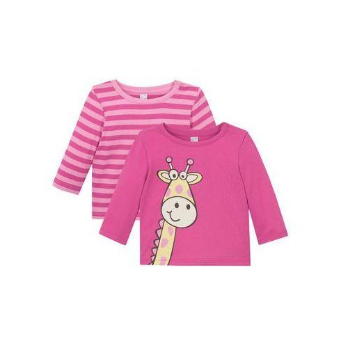 Koszulka niemowlęca z długim rękawem (2 szt.), bawełna organiczna różowo-jasnoróżowy marki Bonprix