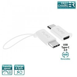 PURO Adapter Micro USB to USB-C - Adapter Micro USB na USB-C 2.0 do ładowania & synchronizacji danych, 2A, 480 Mbps + linka bezpieczeństwa (biały)