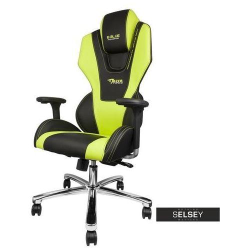 Fotele dla graczy, SELSEY Fotel gamingowy E-Blue Mazer czarno-zielony