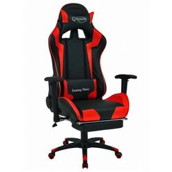 Czarno-czerwony fotel gamingowy z podnóżkiem - Vesaro
