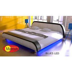 Nowoczesne łóżko tapicerowane BLUES LED RGB - skóra ekologiczna