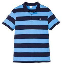 Shirt polo z małym haftem, krótki rękaw bonprix jasnoniebiesko-ciemnoniebieski w paski