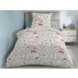 Pościel 100% bawełny STREET- 140x200 cm + 1 poszewka na poduszkę 65 x 65 - beżowy i wielokolorowy