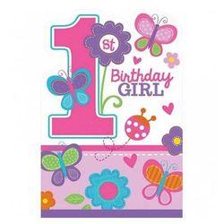 Zaproszenia na roczek dla dziewczynki Birthday Girl Motylki - 8 szt.