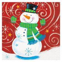 Ozdoby świąteczne, Serwetki na Boże Narodzenie z Bałwankiem - 33 cm - 16 szt.