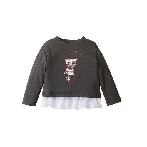Bluzy dla dzieci, Bluza dresowa z falbaną z szyfonu bonprix antracytowy melanż z nadrukiem