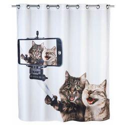 Zasłona prysznicowa Selfie Cat, tekstylna, 180x200 cm, WENKO