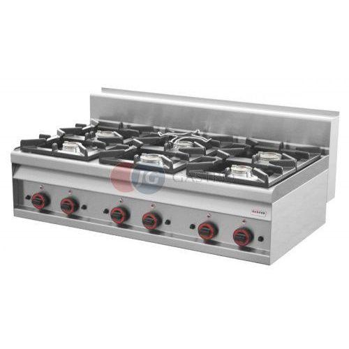 Piece i płyty grzejne gastronomiczne, Kuchnia gazowa stołowa 6-palnikowa Red Fox linia 700 PC - 12 G