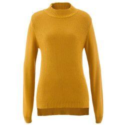 Sweter ze stójką i strukturalnym wzorem bonprix miodowy