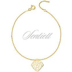 Srebrna bransoletka pr.925 z ażurową zawieszką w kwiatki - pozłacana - Żółte złoto