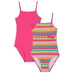 Kostium kąpielowy dziewczęcy (2 szt.) bonprix z nadrukiem + ciemnoróżowy