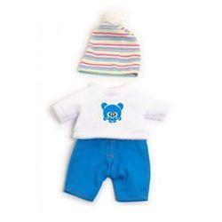 Ubranko dla lalki 21 cm biało-niebieskie z czapeczką