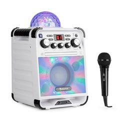 Auna Rockstar LED zestaw do karaoke odtwarzacz CD Bluetooth USBbiały