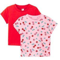 Koszulka niemowlęca (2 szt.), bawełna organiczna bonprix pudrowy jasnoróżowy - truskawkowy