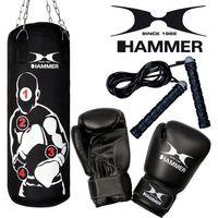 Pozostałe sporty walki, Zestaw bokserski HAMMER Sparring Pro – worek HAMMER Sparring Pro (80cm) + rękawice HAMMER Fit 10 OZ + skakanka