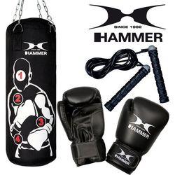Zestaw bokserski HAMMER Sparring Pro – worek HAMMER Sparring Pro (80cm) + rękawice HAMMER Fit 10 OZ + skakanka