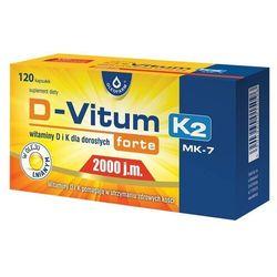 Witamina K i D dla dorosłych D-Vitum forte D3 2000 j.m. naturalna K2 MK-7 75 mcg 120 kapsułek Oleofarm