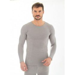Koszulka męska długi rękaw Brubeck Comfort Wool LS11600 szary