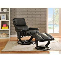 Fotel masujący JULIO ze skóry - Czarny