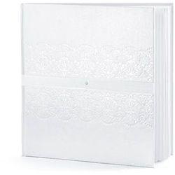 Księga gości weselnych, biała ze wzorem, tasiemką i cyrkonią, 20,5x20,5 cm, 22 kartki