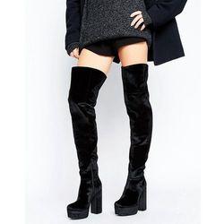 ASOS KEATS Velvet Platform Over The Knee Boots - Black
