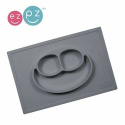 EZPZ - Silikonowy talerzyk z podkładką 2w1 Happy Mat - szary