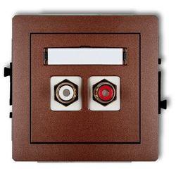 Gniazdo podwójne RCA (cinch - biały i czerwony, pozłacany) 9DGRCA-2, brązowy KARLIK DECO