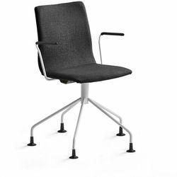 Krzesło konferencyjne OTTAWA, nogi pająka, podłokietniki, czarna tkanina, biały