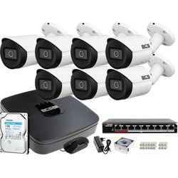 Monitoring IP samodzielny montaż Rejestrator BCS-NVR08015ME-II 7x Kamera tubowa BCS-TIP3501IR-E-V 1TB