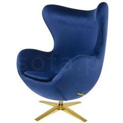 Fotel EGG SZEROKI VELVET GOLD ciemny niebieski.49 - welur, podstawa złota
