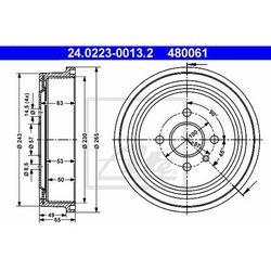 BĘBEN HAM ATE 24.0223-0013.2 OPEL ASTRA G 1.2 16V 98-00, 1.4 16V 98-05, 1.7DTI 16V 00-05 1.8 03-04