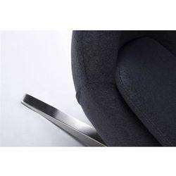 Fotel tapicerowany JAJO EGG SZEROKI z podnóżkiem ciemny szary.27 - wełna, podstawa stal