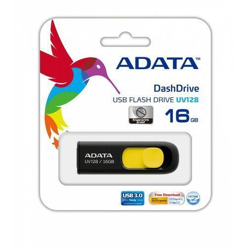 Flashdrive, Adata pamięć USB DashDrive UV128 16GB USB 3.0 Black+Yellow