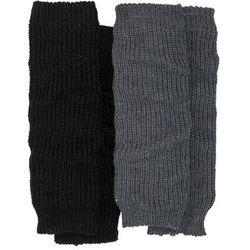 Getry na nogi (2 pary) bonprix antracytowy melanż + czarny