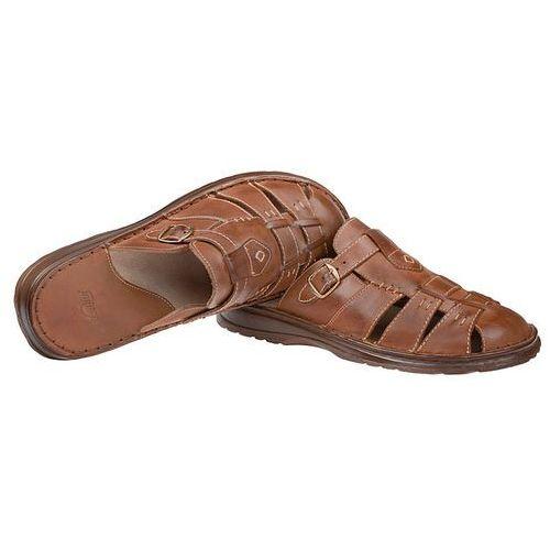 Klapki męskie, Klapki buty ŁUKBUT 962 Brązowe - Brązowy