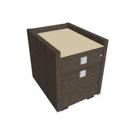 Mobilny kontener pod biurko Assist - 2-szufladowy, przeszklony, dąb antracyt