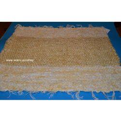 Chodnik bawełniany (wycieraczka) ręcznie tkany jasno złocisty, brzegi żółto-ecru 65x50