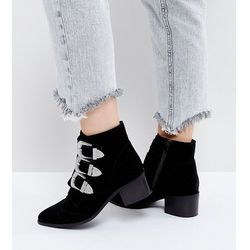 ASOS RELIEVE Wide Fit Suede Buckle Ankle Boots - Black
