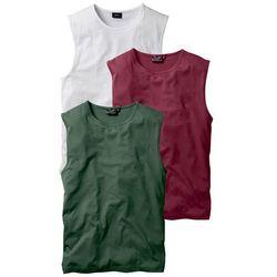 Shirt bez rękawów (3 szt.) Regular Fit bonprix bordowy + ciemnozielony + biały