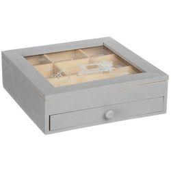 Drewniana szkatułka na biżuterię z szybką, 24 x 24 x 7 cm