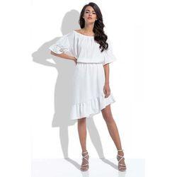 Ecru Asymetryczna Sukienka Hiszpanka z Rękawami do Łokcia
