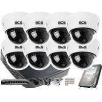 Zestawy monitoringowe, 8x BCS-DMIP3200IR-E-IV zestaw monitoringu BCS-NVR08015ME-II Dysk 1TB Akcesoria