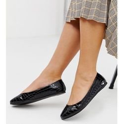 ASOS DESIGN Wide Fit Lassie ballet flats in black croc - Black