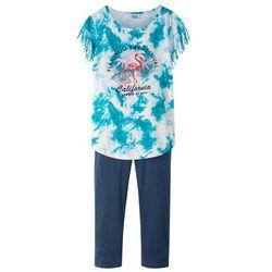 Shirt z frędzlami + legginsy 3/4 bonprix biel wełny batikowy - niebieski