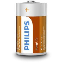 2 x bateria cynkowo-węglowa Philips LongLife R20 D (taca)